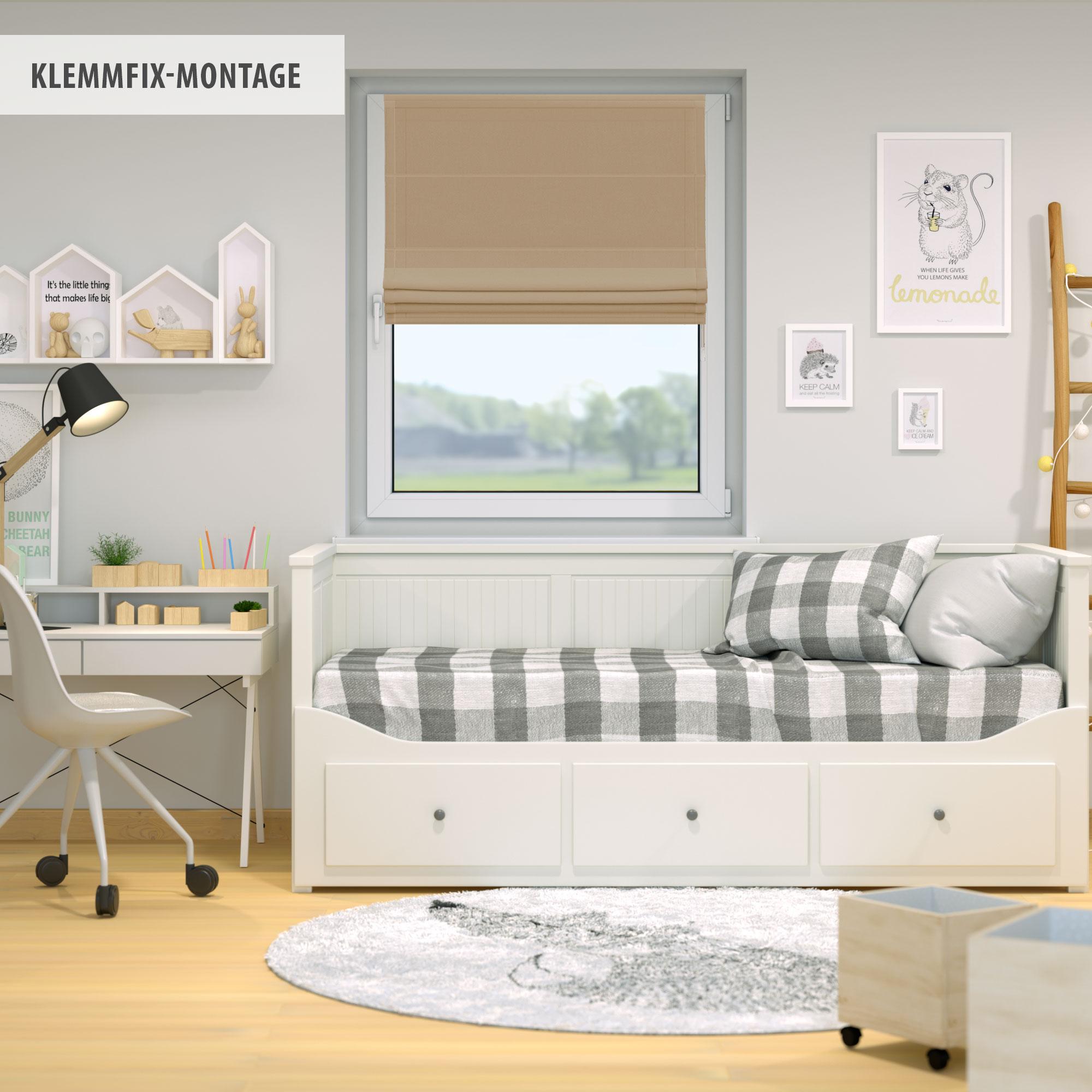 Raffrollo-Faltrollo-Klemmfix-ohne-Bohren-Fenster-Raffgardine-Gardine-VICTORIA-M Indexbild 11