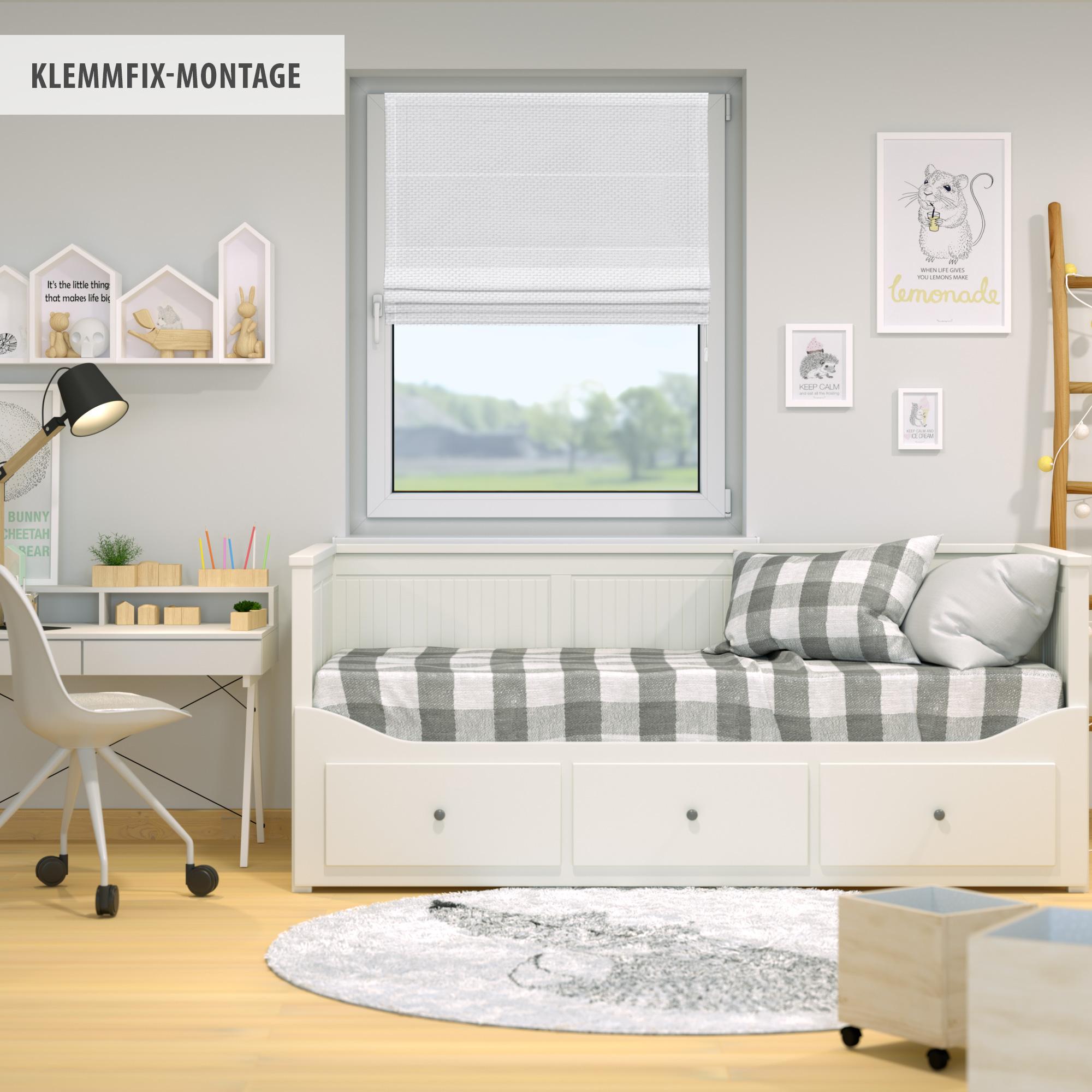 Raffrollo-Faltrollo-Klemmfix-ohne-Bohren-Fenster-Raffgardine-Gardine-VICTORIA-M Indexbild 27