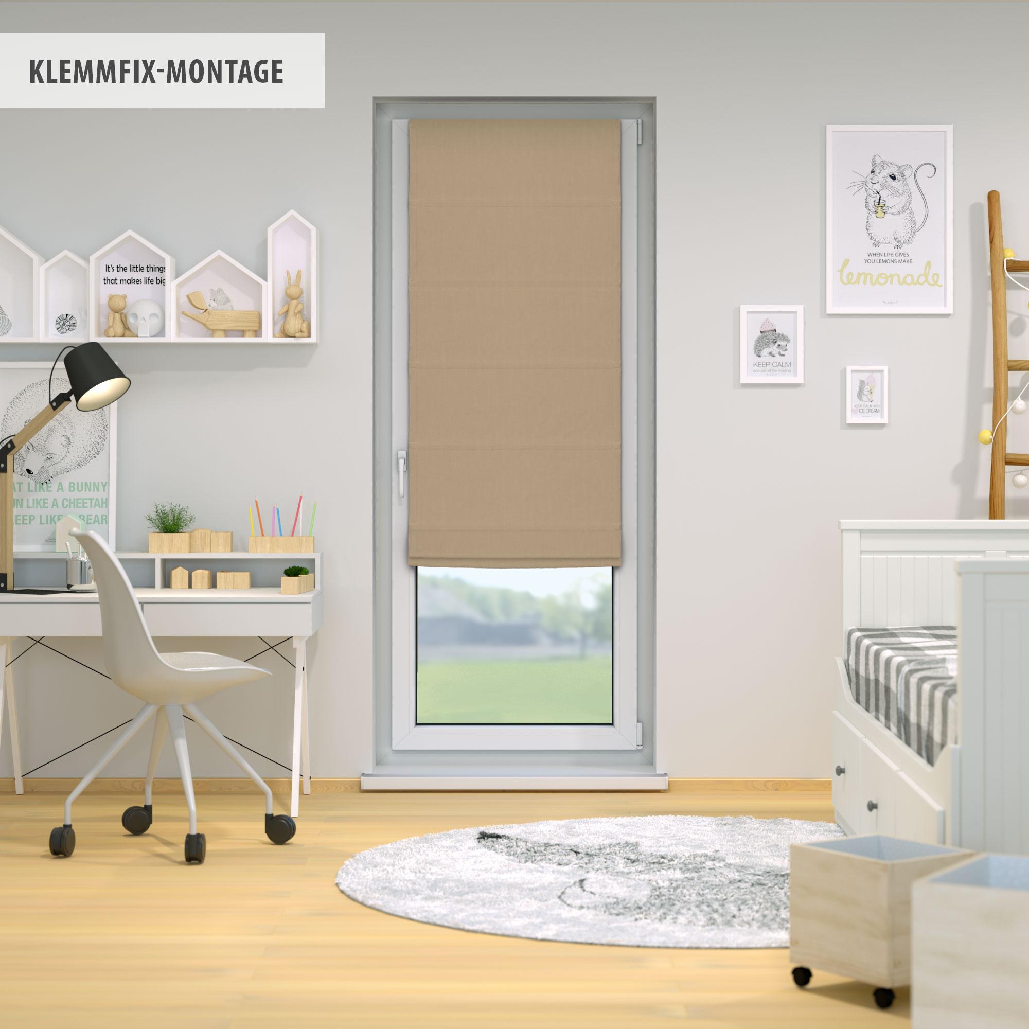Raffrollo-Faltrollo-Klemmfix-ohne-Bohren-Fenster-Raffgardine-Gardine-VICTORIA-M Indexbild 13