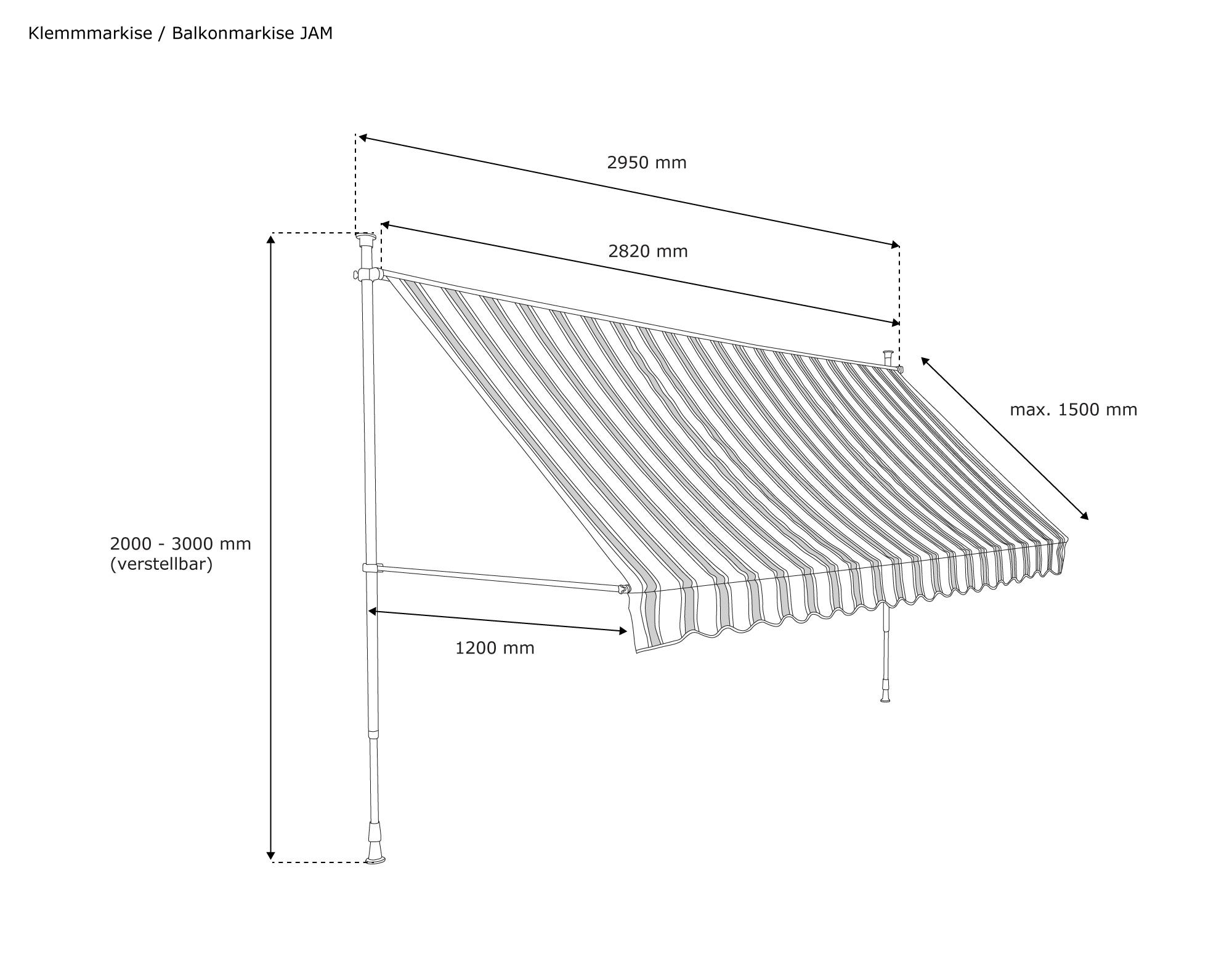 Indexbild 6 - Markise-Balkon-Klemmmarkise-Sonnenschutz-295x120cm-Creme-ohne-Bohren-B-Ware