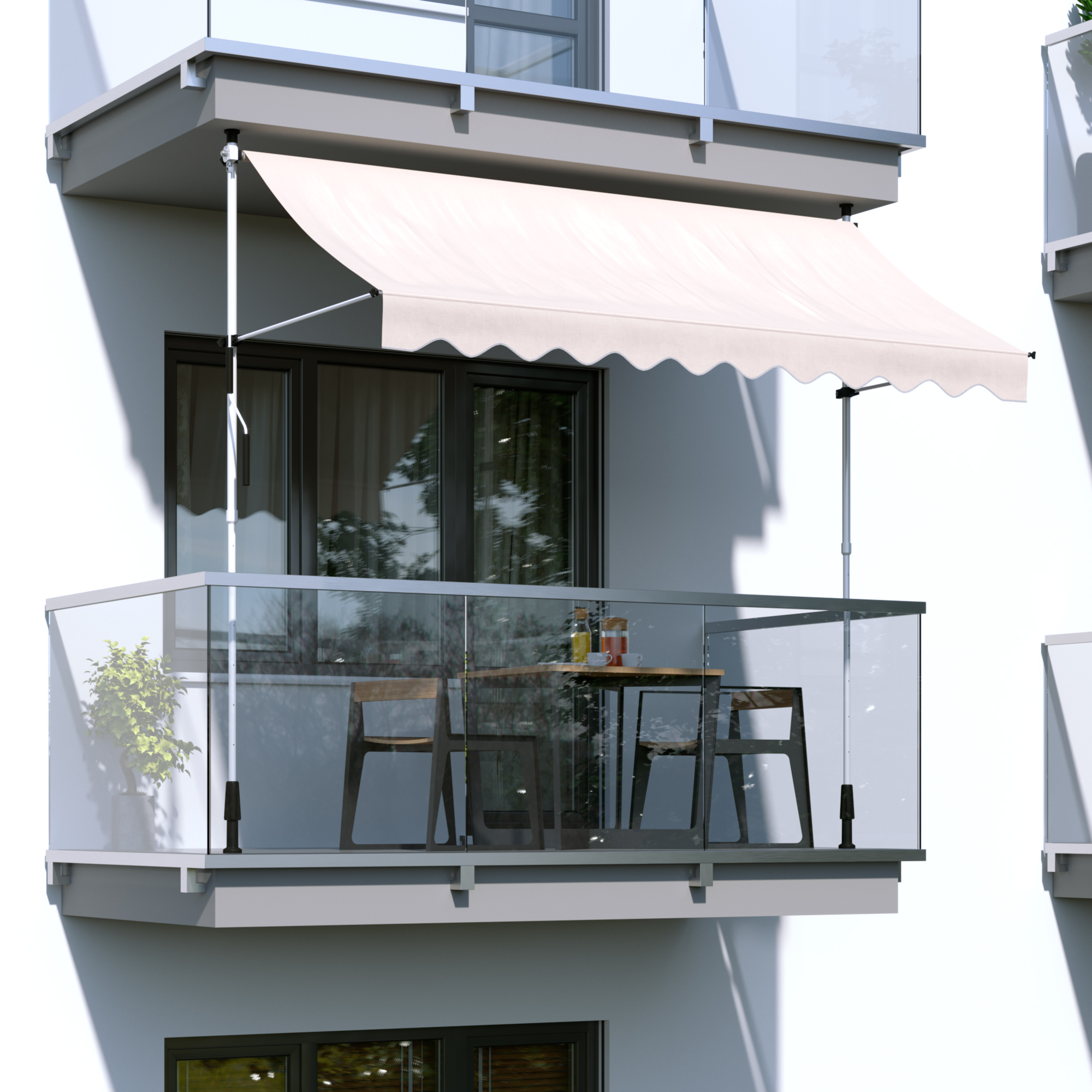 Indexbild 7 - Markise-Balkon-Klemmmarkise-Sonnenschutz-295x120cm-Creme-ohne-Bohren-B-Ware