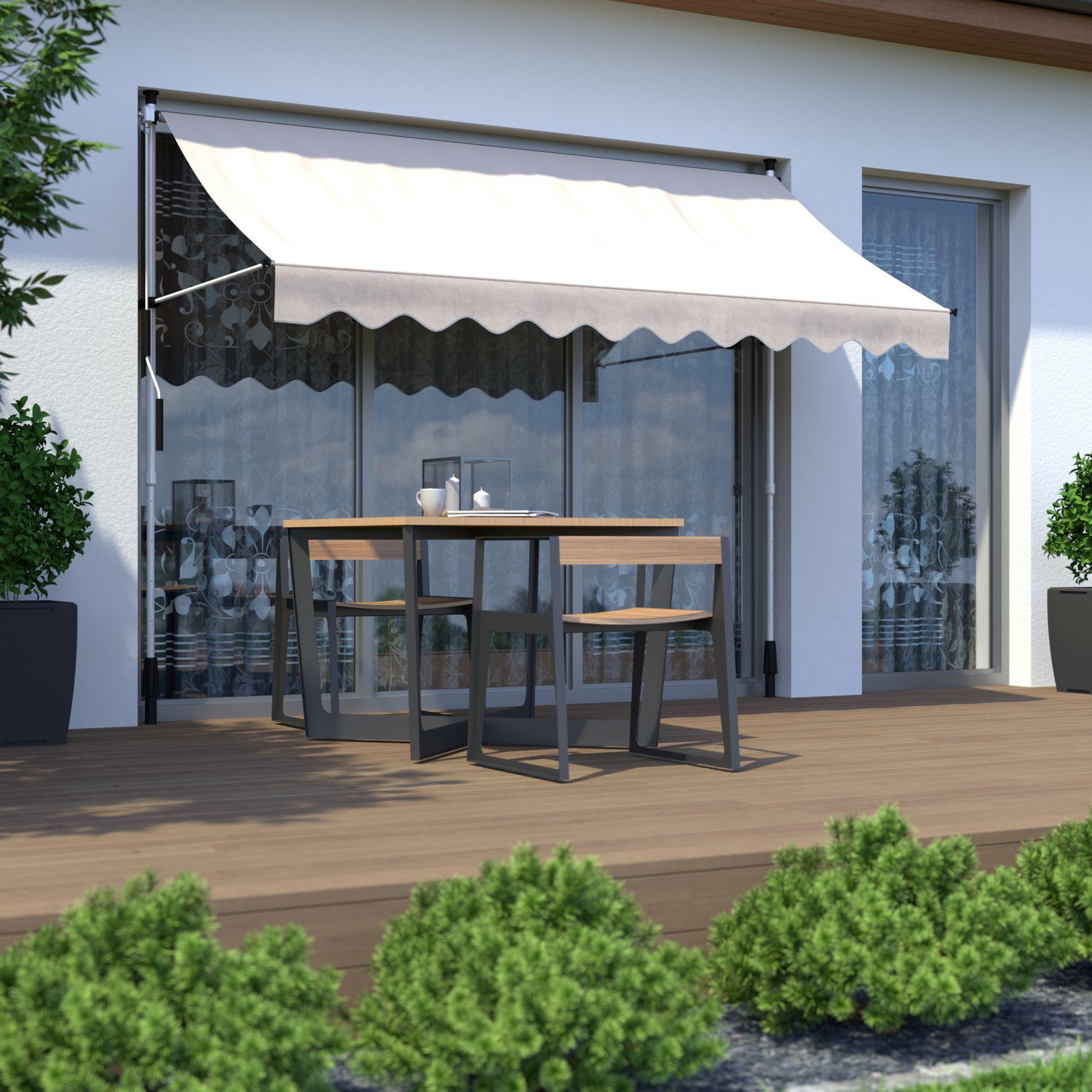 Markise Balkon Klemmmarkise Sonnenschutz 295x120cm Creme Ohne