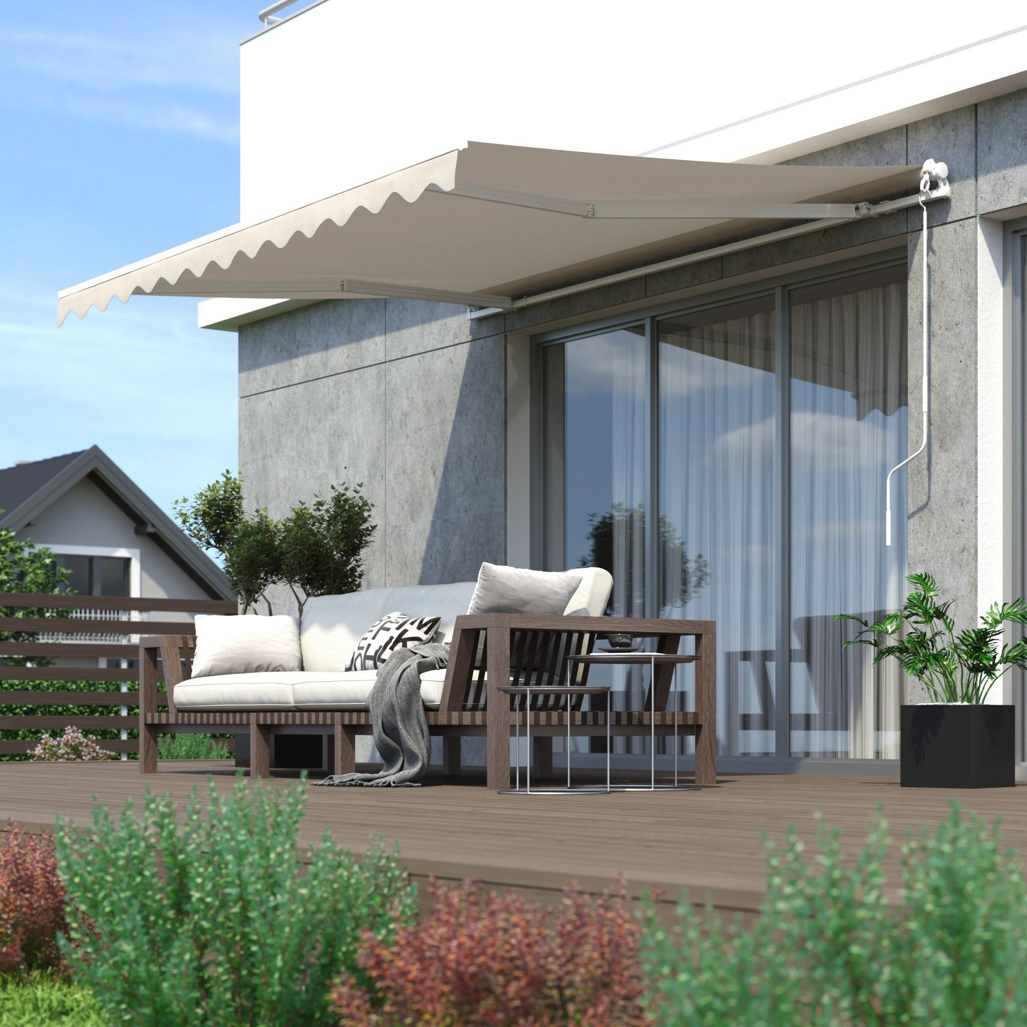 Markise-Sonnenschutz-Gelenkarmmarkise-Balkon-Handkurbel-295x200cm-Beige-B-Ware Indexbild 7