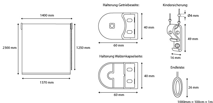 rollo lichtdurchl ssig 140x230cm fensterrollo braun seitenzugrollo stoffrollo ebay. Black Bedroom Furniture Sets. Home Design Ideas