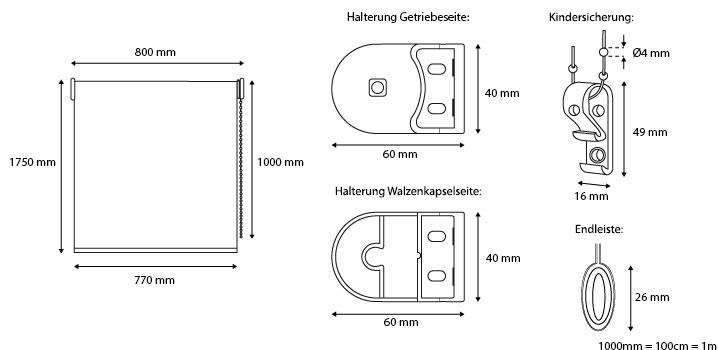 rollo lichtdurchl ssig 80x175cm fensterrollo braun seitenzugrollo stoffrollo ebay. Black Bedroom Furniture Sets. Home Design Ideas